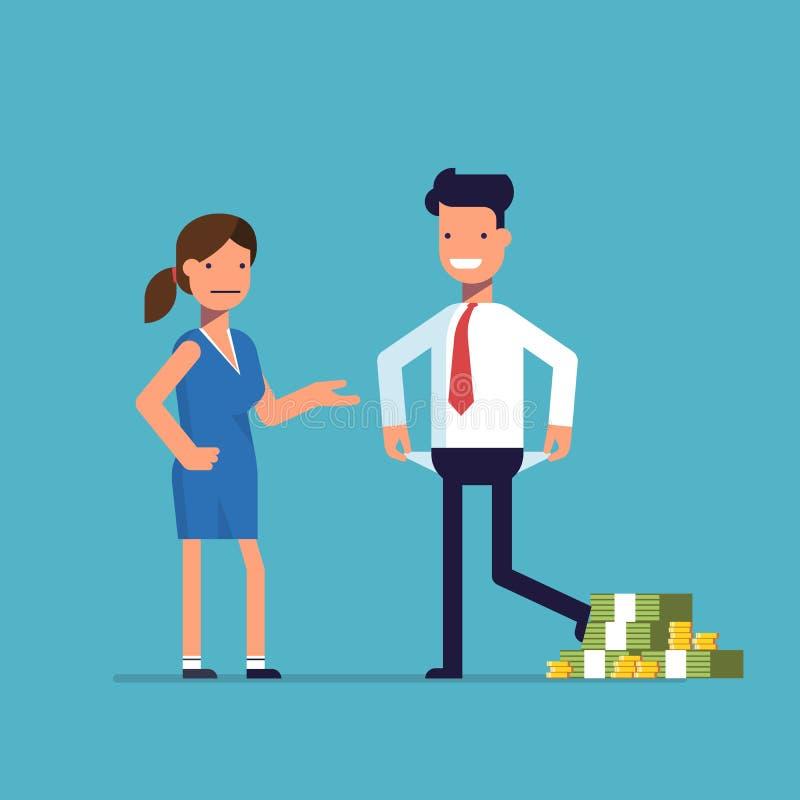 Manfuskkvinna Affärsmannen med massor av pengar kringgår betalning Finansiellt bedrägeri stock illustrationer