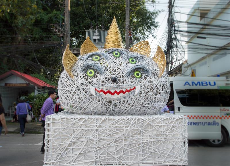 Mang 4ears 5eyes folktale animal is the official mascots for the 46th Thailand National Games, Chiang Rai Games. Chiang Rai, Thailand – October 28, 2018 royalty free stock image