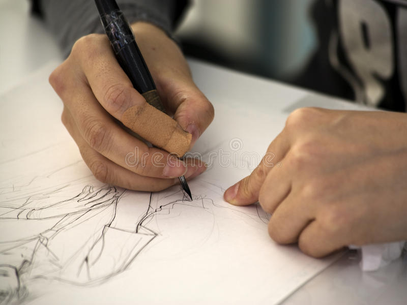 manga σχεδίων καλλιτεχνών στοκ εικόνα με δικαίωμα ελεύθερης χρήσης