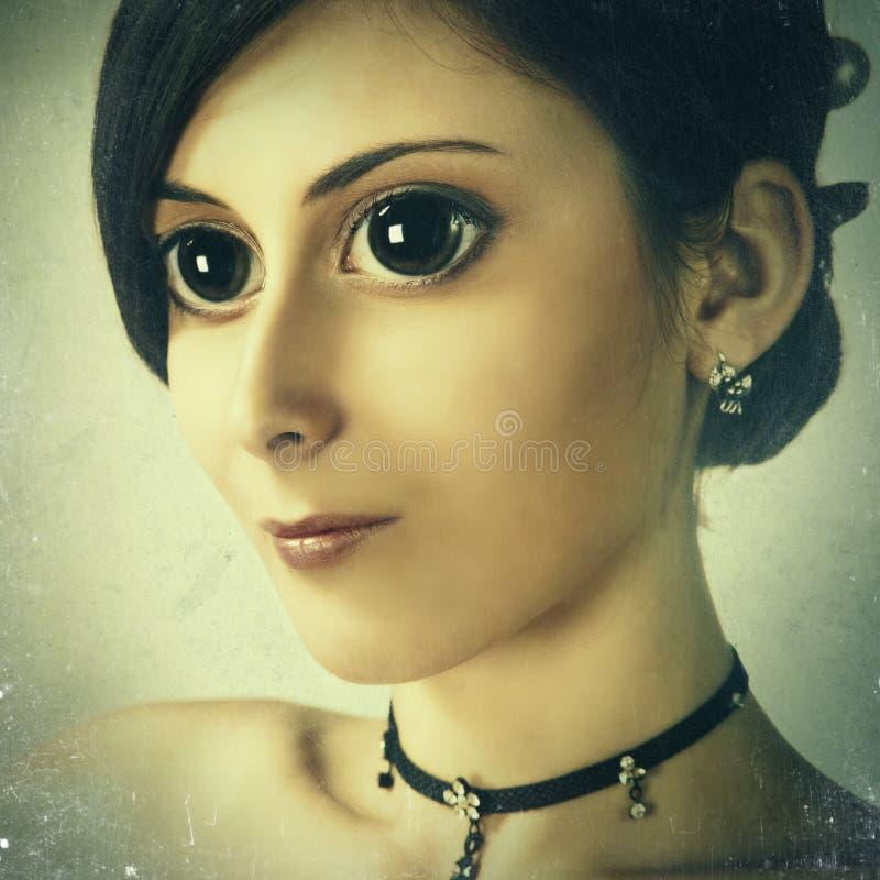 Manga-Art-Frauporträt lizenzfreie stockfotografie