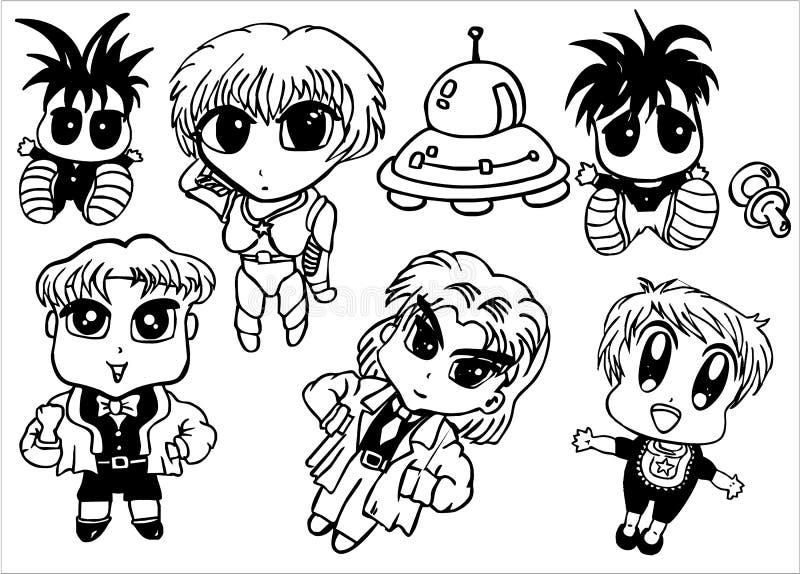 Manga Artschätzchen stellten ein lizenzfreie abbildung