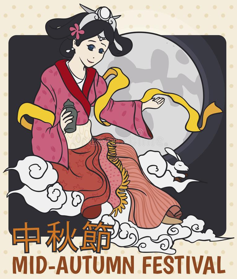 Manga Design with the Moon Goddess Chang`e for Mid-Autumn Festival, Vector Illustration. Manga design with the moon goddess Chang`e and the jade rabbit over full vector illustration
