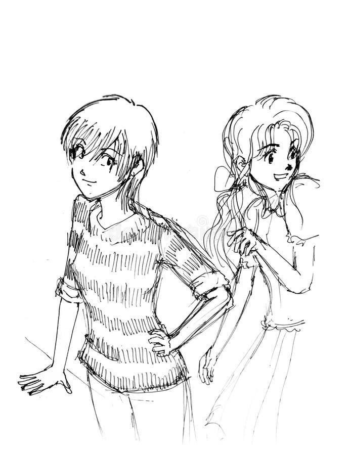 Manga flickatecken skissar royaltyfri illustrationer