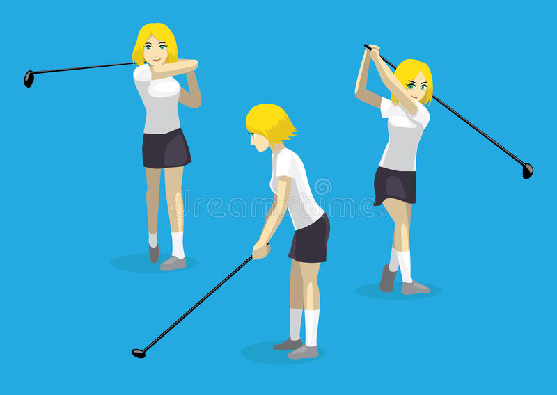 Manga Girl Swing Golf Vector-Illustratie vector illustratie