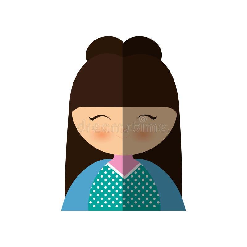 manga japonais de fille mignonne - ombre illustration de vecteur