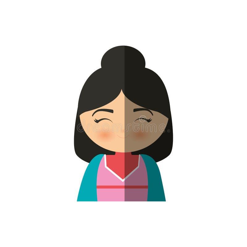 manga japonais de fille mignonne - ombre illustration libre de droits