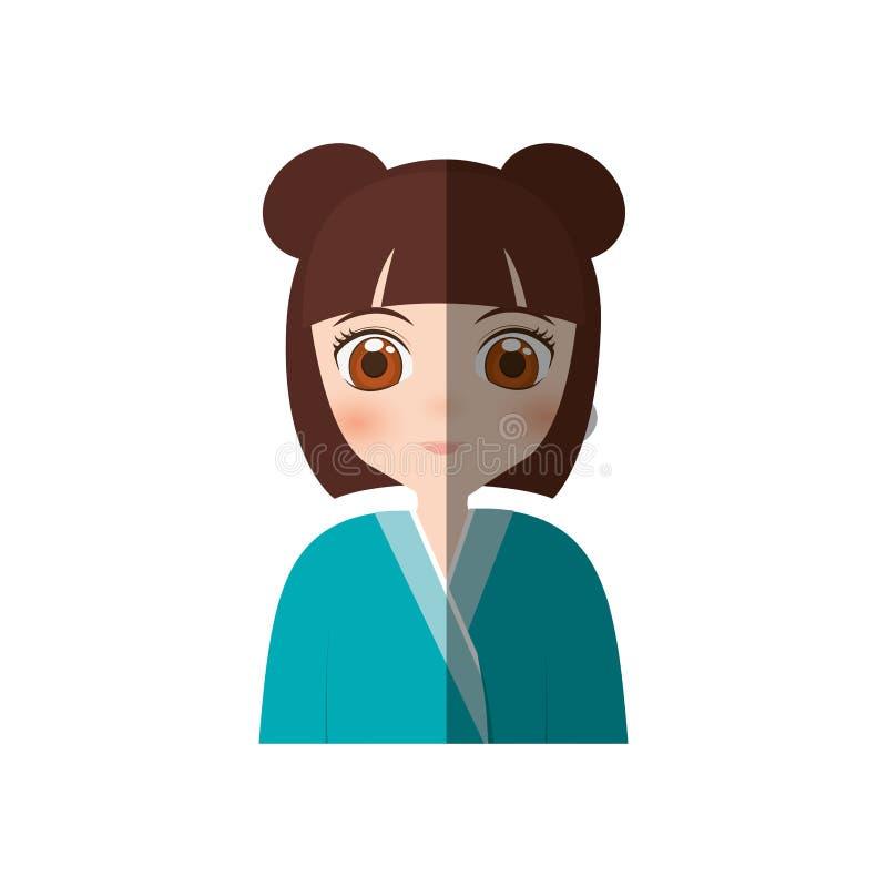 manga japonais de fille mignonne - ombre illustration stock