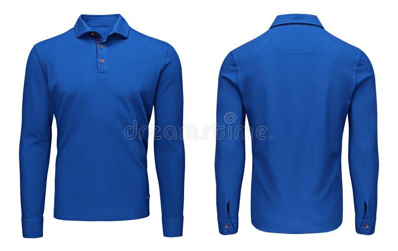 Manga larga del polo azul para hombre en blanco de la plantilla, frente y visión trasera, fondo blanco Maqueta de la camiseta del imágenes de archivo libres de regalías