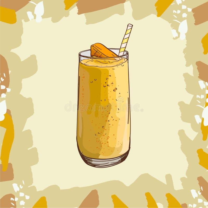 Manga, pêssego, banana, citrino, receita tropical do batido Elemento do menu para o café ou restaurante com bebida fresca energét ilustração do vetor