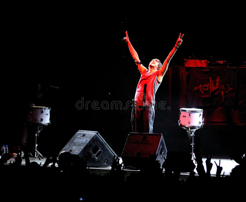 Manga rock concert. MANGA performing live on the stage at Denizli. Famous rock group will represent Turkey in the May 29th Eurovision contest in Oslo. May 17 royalty free stock image