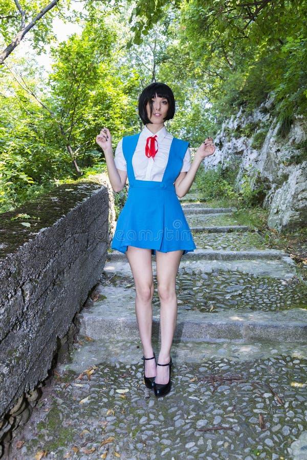 Manga Schoolgirl stock afbeeldingen