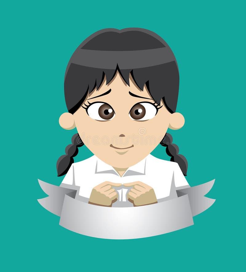 Manga Shy Girl Student Vector-Illustration vektor abbildung