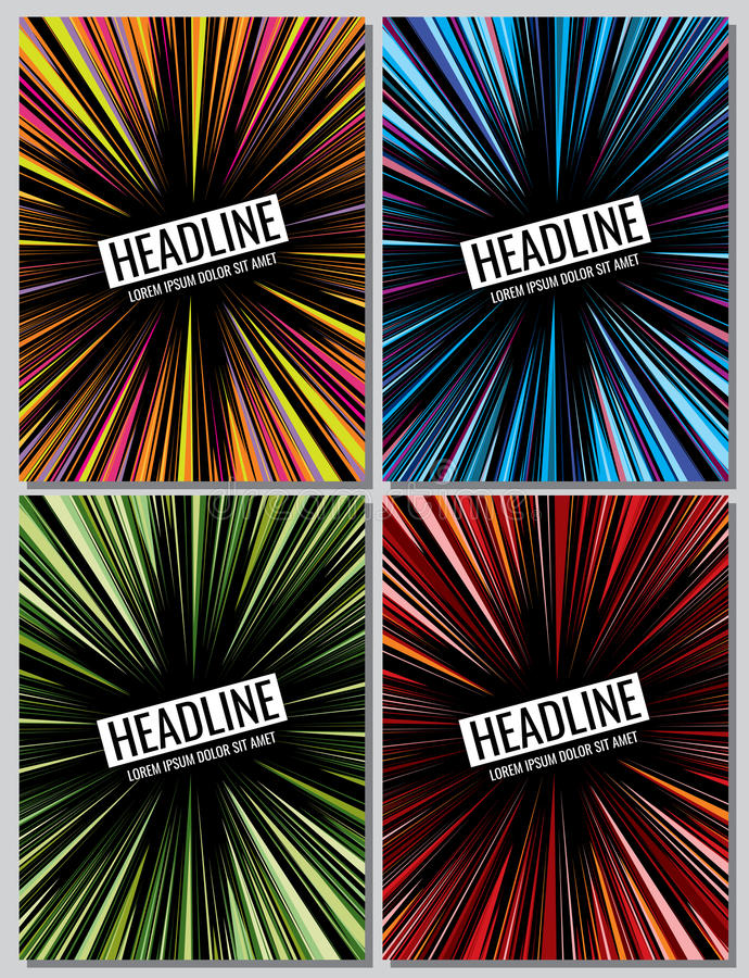 Manga speed lines grunge ray set. Vector layout for comic books stock illustration