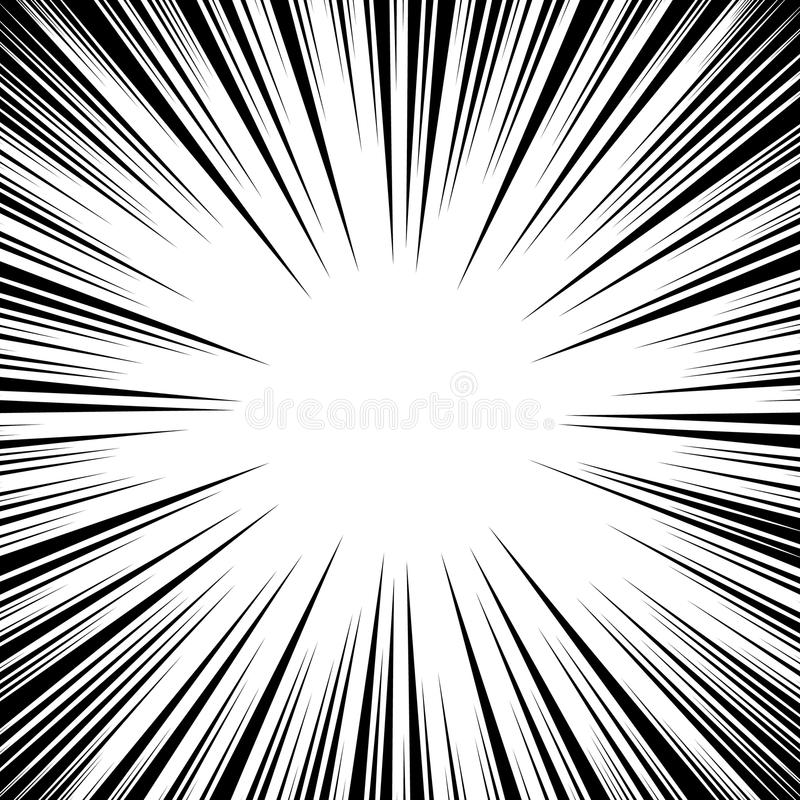 Manga Speed Lines Vector. Grunge Ray Illustration. Black And White. Space For Text. Comic Book Radial Lines Background Frame. Supe. Rhero Action. Explosion stock illustration