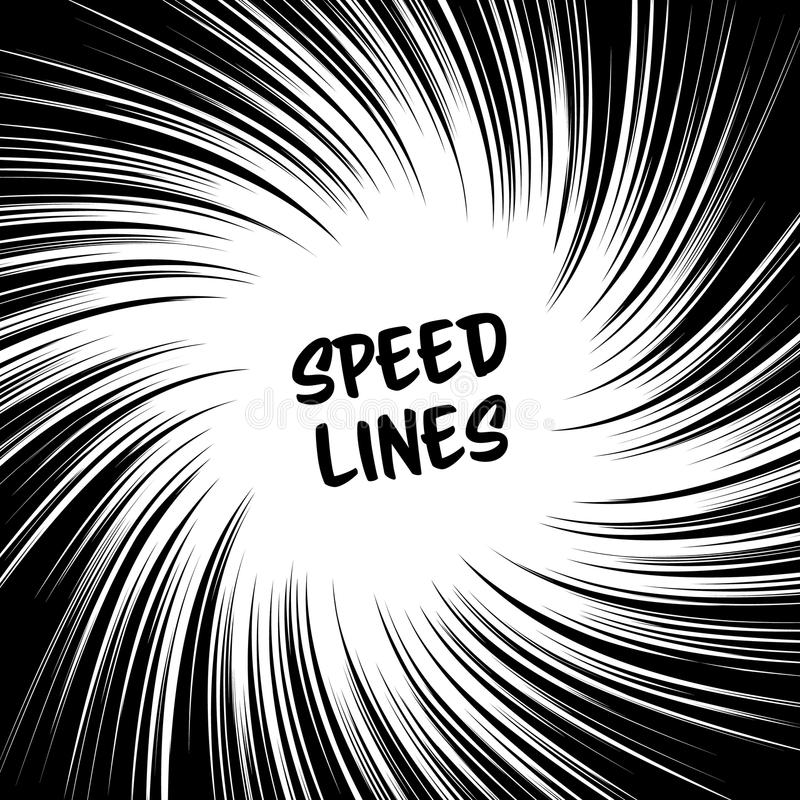 Manga Speed Lines Vector. Grunge Ray Illustration. Black And White. Space For Text. Comic Book Radial Lines Background. Manga Spee. Manga Speed Lines Vector royalty free illustration