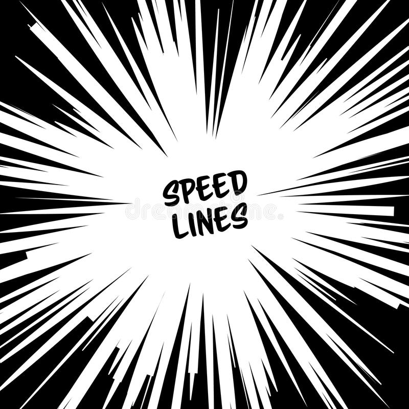 Manga Speed Lines Vector. Grunge Ray Illustration. Black And White. Space For Text. Comic Speed Radial Background. Manga Speed Lines Vector. Grunge Ray vector illustration