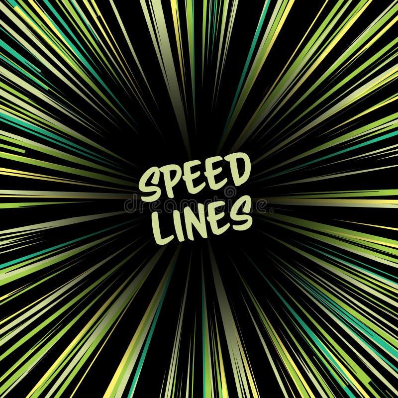 Manga Speed Lines Vetora Linhas radiais cômicas da velocidade Ray And Acceleration Ilustração visionário do além ilustração stock