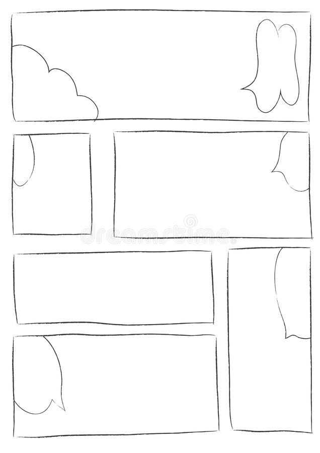 Manga storyboard layout brush stroke b. Manga storyboard layout template for rapidly create the comic book style. A4 design of paper ratio is fit for print out vector illustration