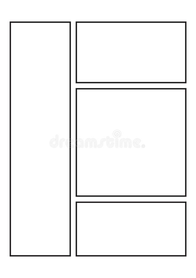 Manga Storyboard Layout template for Drawing Stories stock illustration