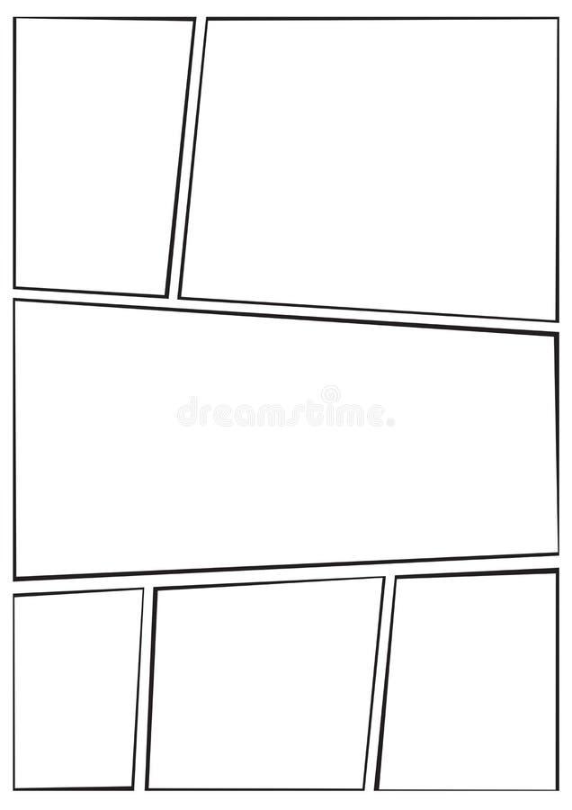 Manga Storyboard Layout Thick Stroke A Stock Illustration
