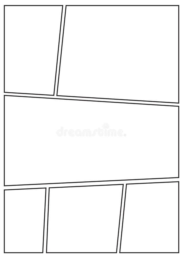 Manga Storyboard Layout Thick Stroke B Stock Illustration