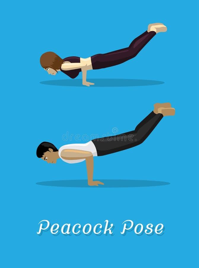 Manga Style Cartoon Yoga Peacock stelt stock illustratie