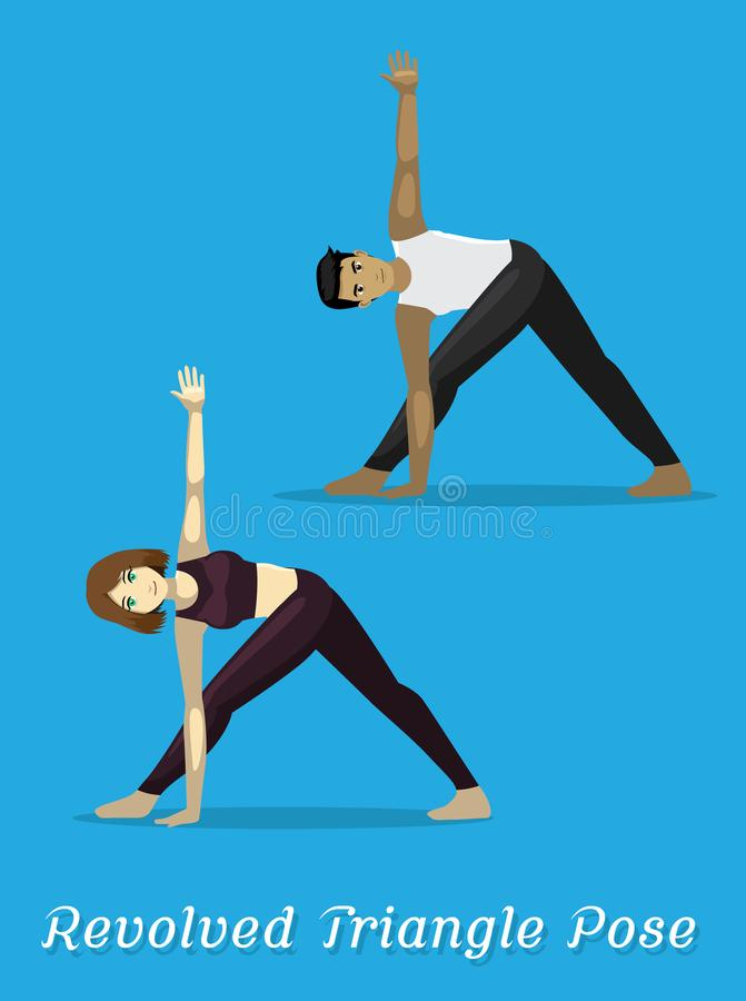 Manga Style Cartoon Yoga Revolved-Dreieck-Haltung vektor abbildung