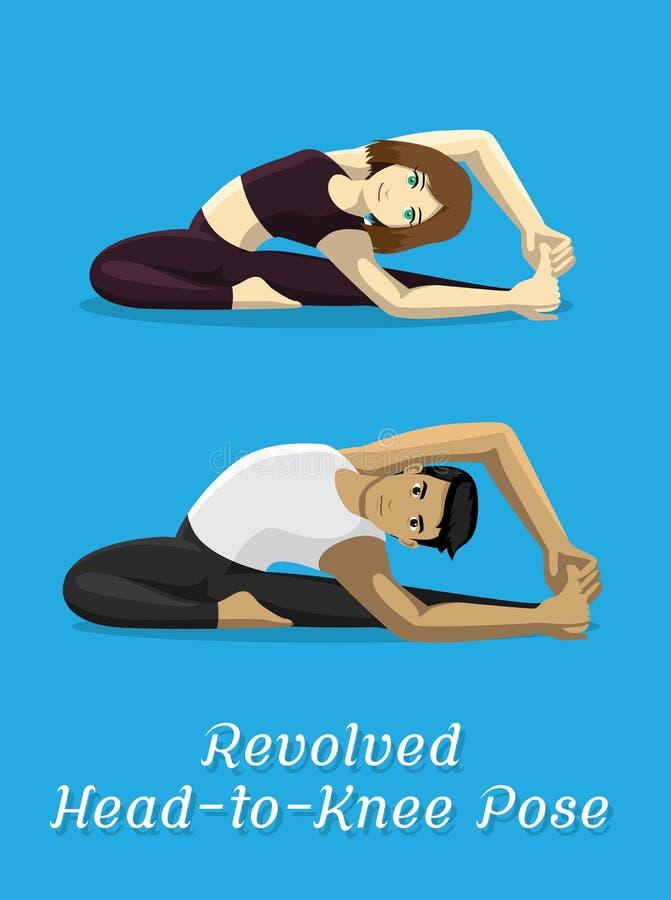 Manga Style Cartoon Yoga Revolved-Kopf-zu-Knie-Haltung stock abbildung