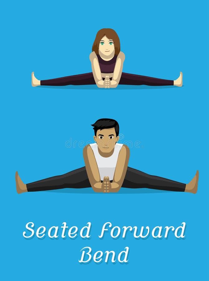 Manga Style Cartoon Yoga Seated-Rumpfbeuge-Haltung lizenzfreie abbildung