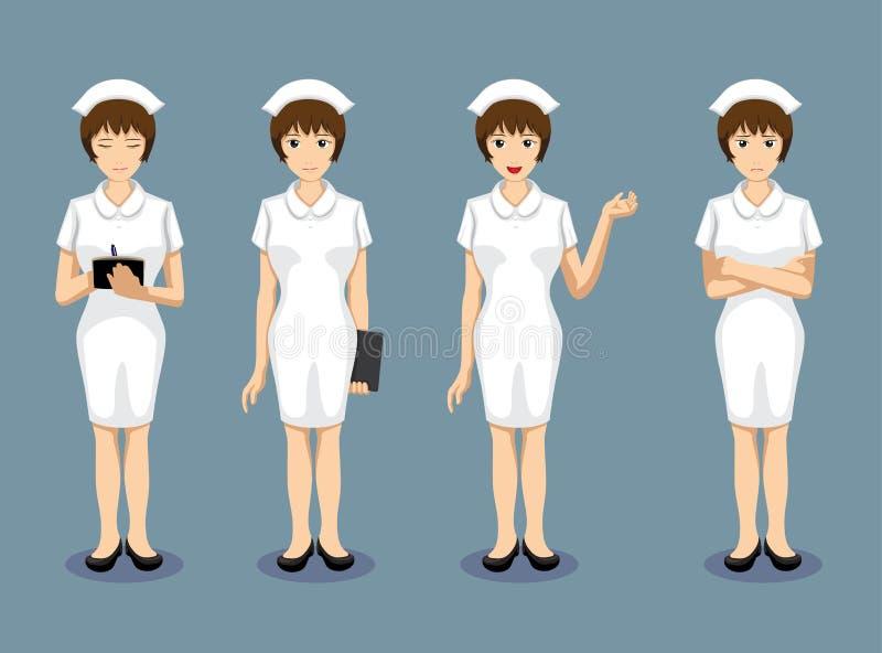 Manga Style Nurse Poses stellt Vektor-Illustration gegenüber lizenzfreie abbildung