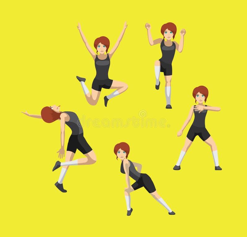 Manga Style Red Hair Woman-Karikatur Zumba-Tanz wirft gesetzten Vektor 2 auf stock abbildung