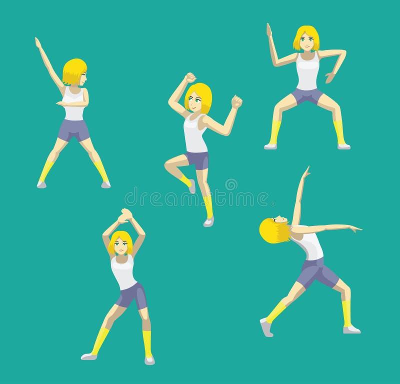 Manga Style Yellow Bob Hair-Frauen-Karikatur Zumba-Tanz wirft gesetzten Vektor auf vektor abbildung