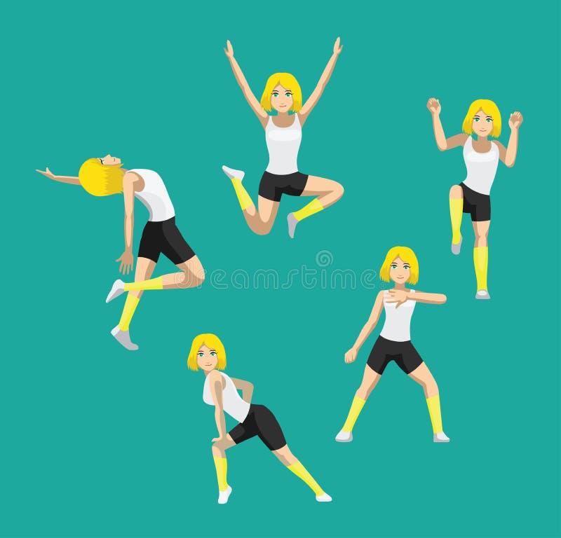 Manga Style Yellow Bob Hair-Frauen-Karikatur Zumba-Tanz wirft gesetzten Vektor 2 auf stock abbildung