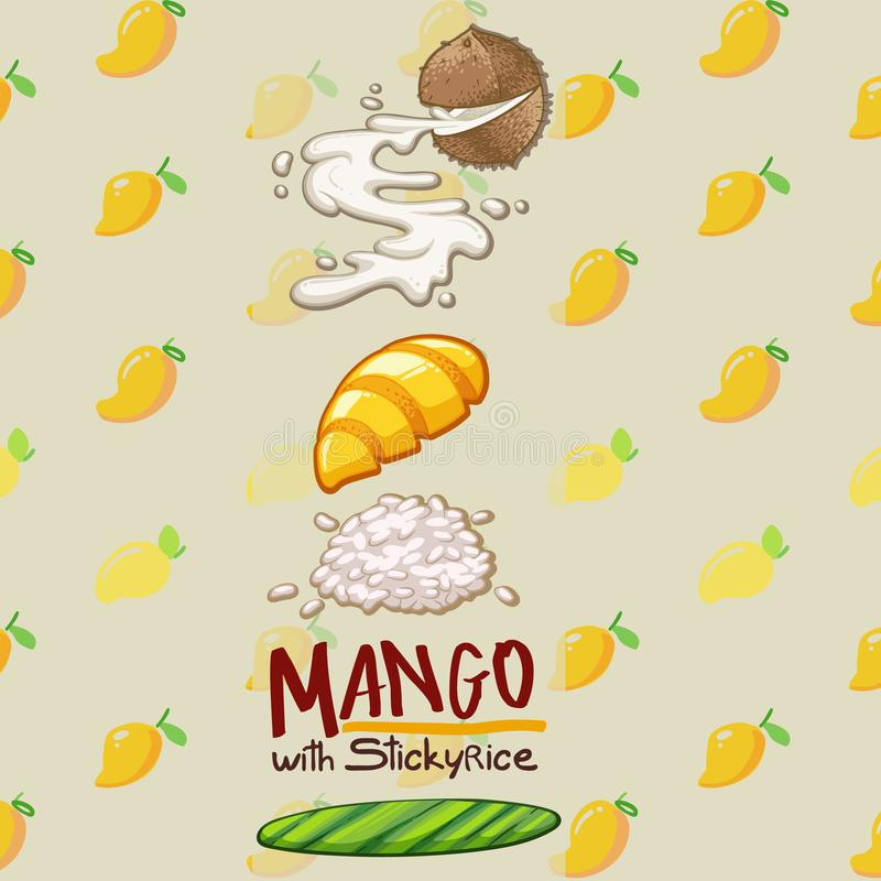 Manga tailandesa da sobremesa com arroz pegajoso ilustração do vetor