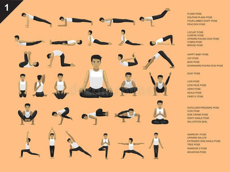 Manga Yoga Man Easy Poses Set Cartoon Vector Illustration. Manga Yoga Posture EPS10 File Format stock illustration