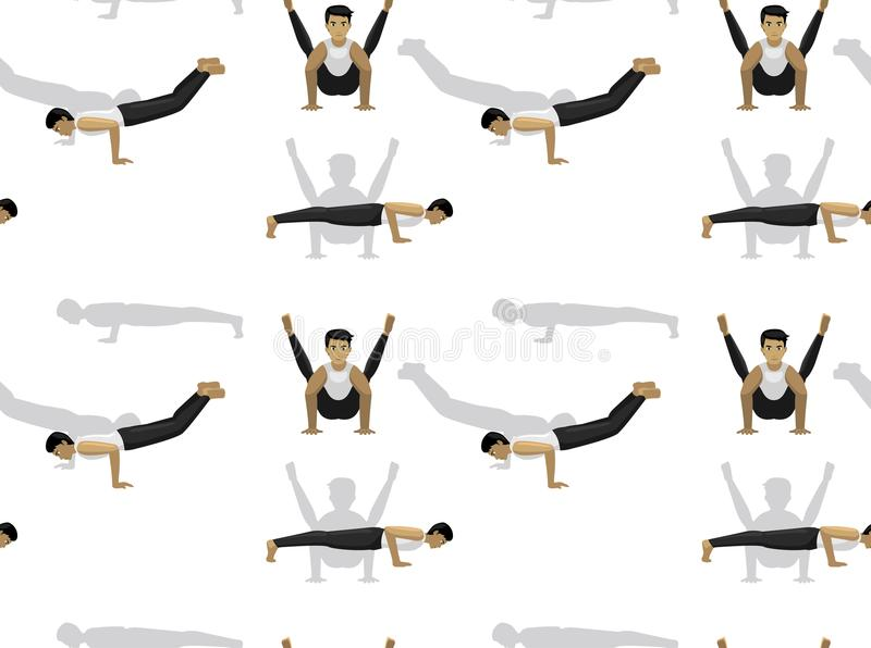 Manga Yoga Man Peacock Pose-Naadloos Behang Als achtergrond vector illustratie