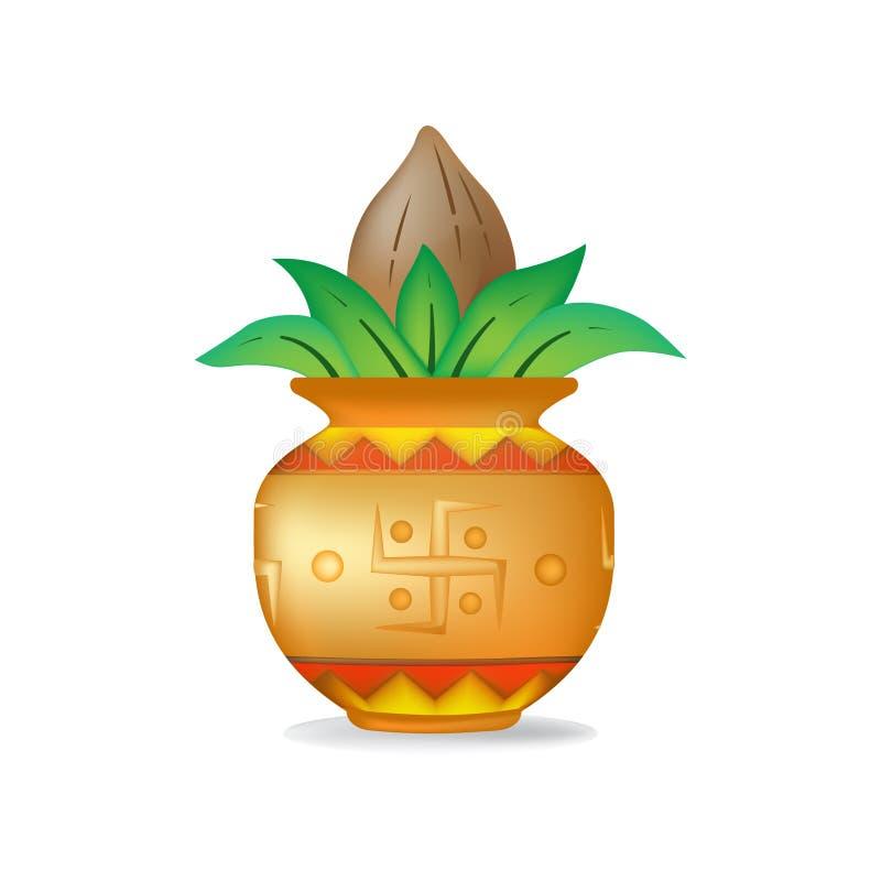 mangal椰子的kalash 库存例证
