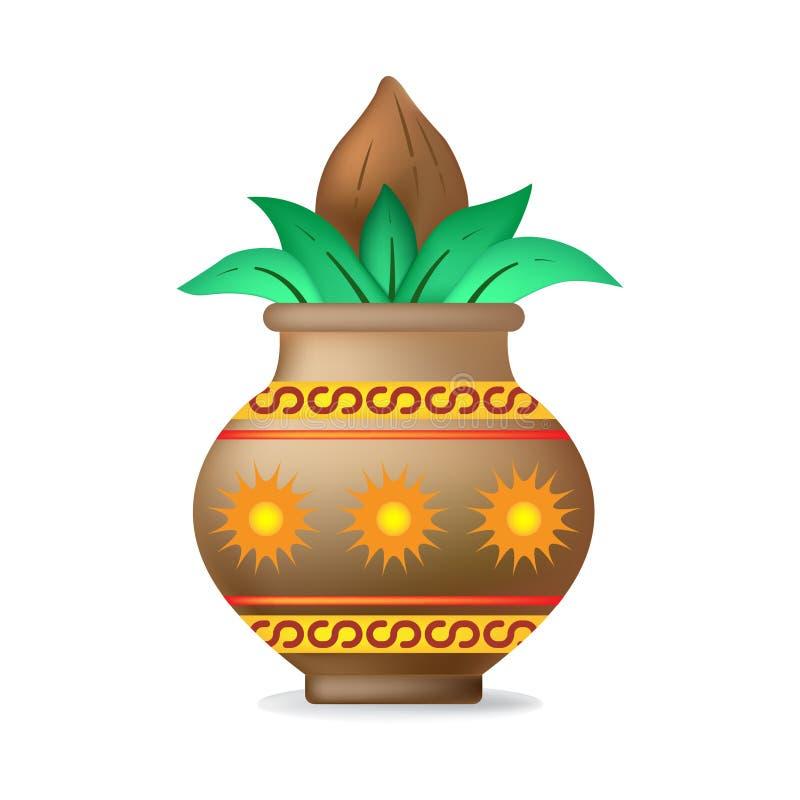 Mangal Kalash con el coco ilustración del vector