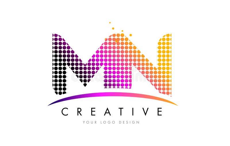 Manganês M N Letter Logo Design com pontos magentas e Swoosh ilustração stock
