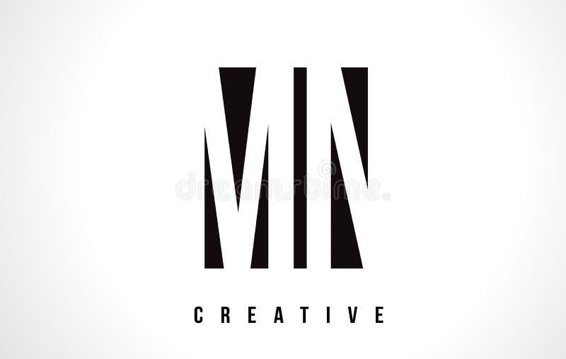 Manganês M N White Letter Logo Design com quadrado preto ilustração royalty free