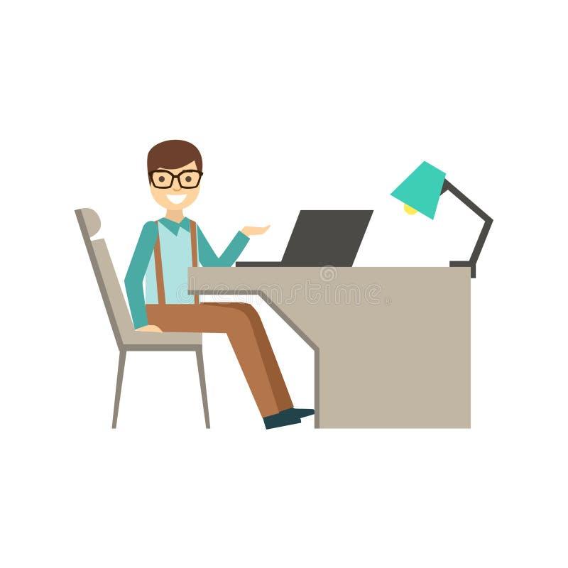 Manganeso en vidrios detrás de su escritorio, Coworking en atmósfera informal en el ejemplo moderno de Infographic de la oficina  stock de ilustración