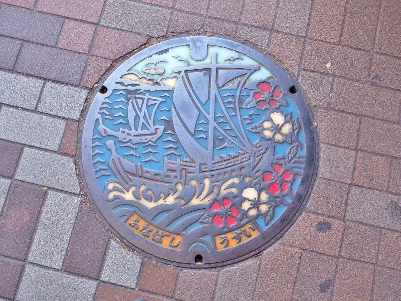 Mangatdekking van Funabashi-stad in de prefectuur van Chiba, Japan royalty-vrije stock afbeeldingen