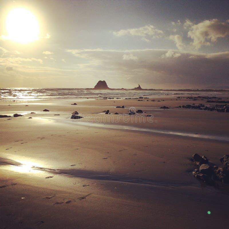 Mangawhai strand royaltyfria foton