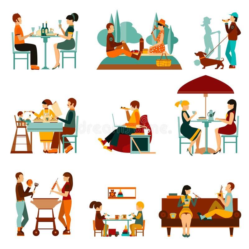 Mangeant des icônes de personnes réglées illustration stock
