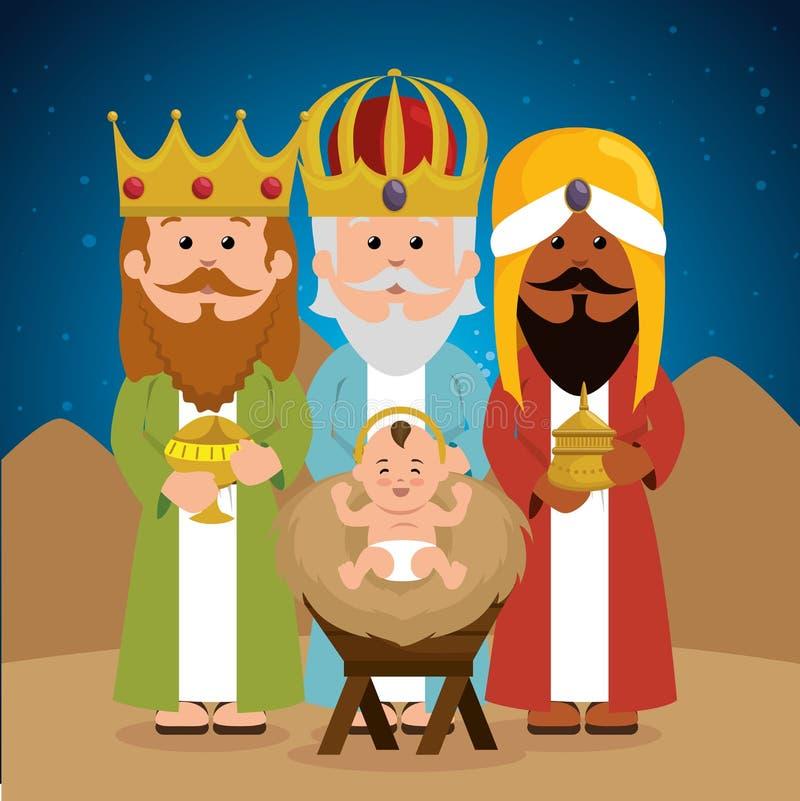 Mangeoire sage de Jésus de bébé de trois rois illustration libre de droits
