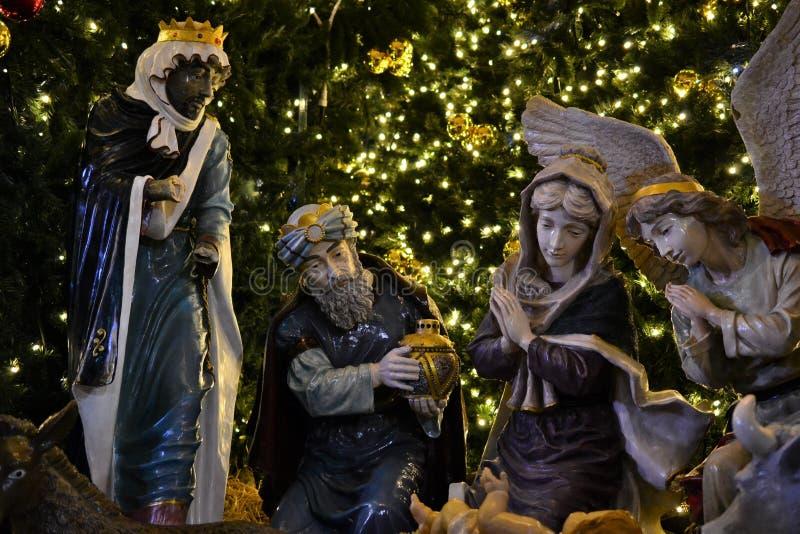 Manger à la place d'église de nativité au réveillon de Noël à Bethlehem, banque occidentale, Palestine, Israël photographie stock libre de droits