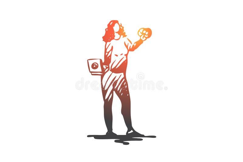 Manger avec excès, boulimie, bombe mangeant, graisse, concept de femme Vecteur d'isolement tiré par la main illustration stock