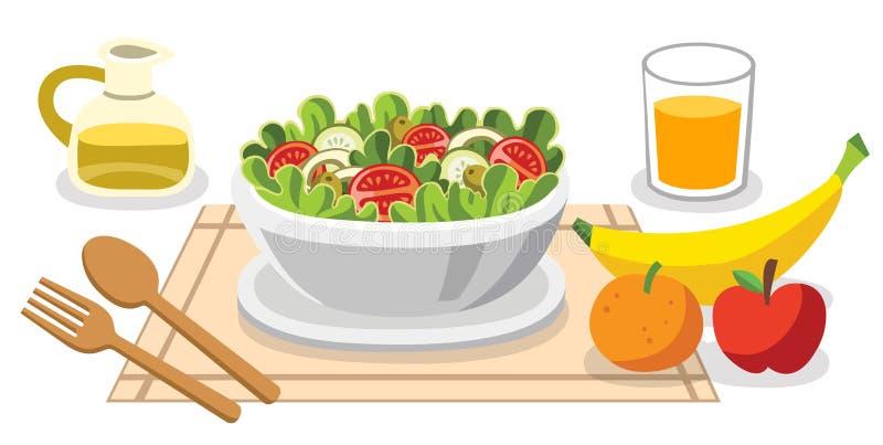 Manger des salades Nourriture de régime pendant la vie Nourritures saines illustration libre de droits