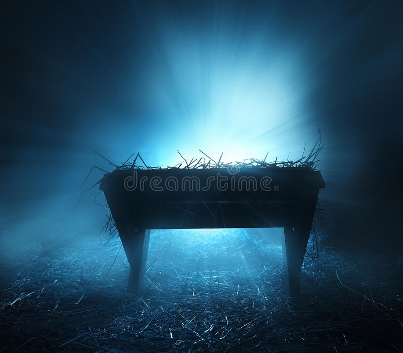 Manger at night. A manger at night with blue bright lights