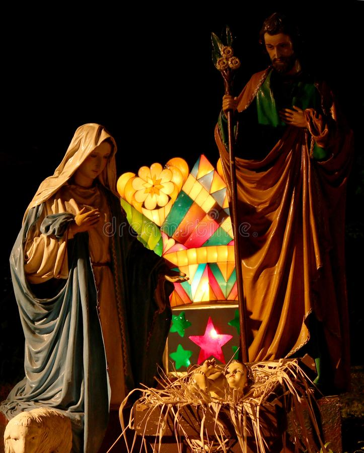 The Manger. A publicly displayed giant manger along the street of Rizal Park stock photography